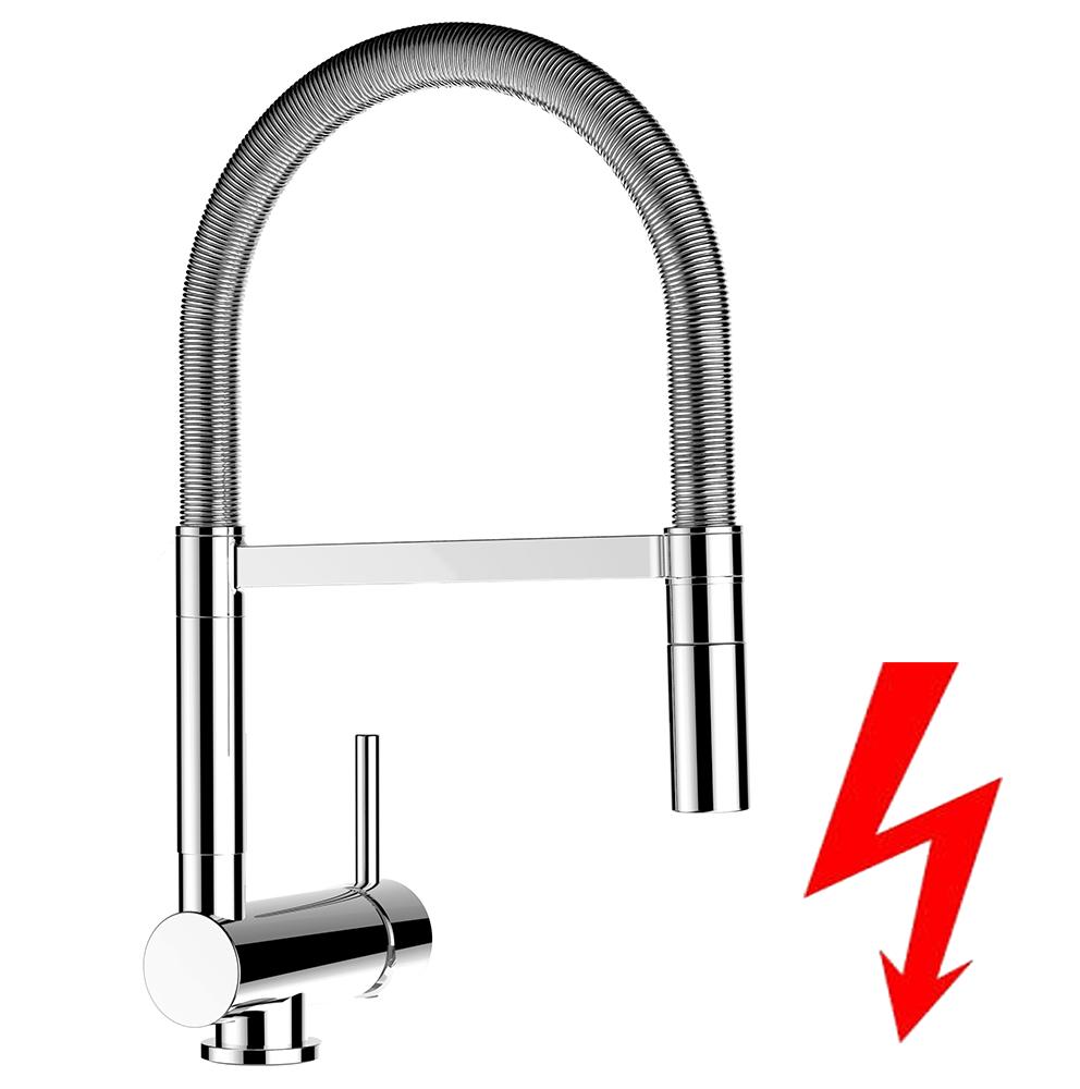 NIEDERDRUCK Küchenarmatur mit Edelstahl-Stahlfeder Chrom - 2 strahl ...