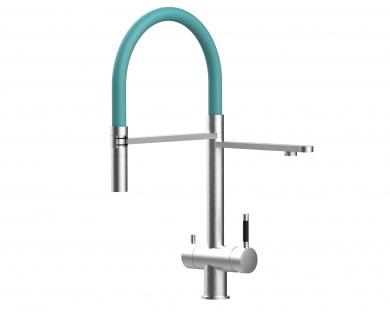 türkis 3 wege Edelstahl gebürstet Küchenmischer Wasserhahn für Filtersysteme m. 2strahl Handbrause