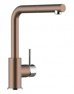 Bronze Küchenmischer mit 140° schwenbarem Auslauf und heuausziehbarer Brause