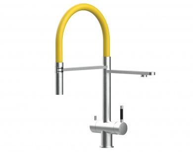 gelb 3 wege Edelstahl gebürstet Küchenmischer Wasserhahn für Filtersysteme m. 2strahl Handbrause