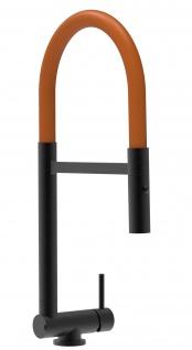 Chrom schwarz matt Küchenmischer mit orange schwenkbarem Auslauf und abnehmbarer 2 strahl Handbrause - Gesamthoehe nur 4, 5 cm