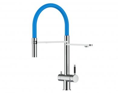 hellblau 3 wege Edelstahl Hochglanz Küchenmischer Wasserhahn für Filtersysteme m. 2strahl Handbrause