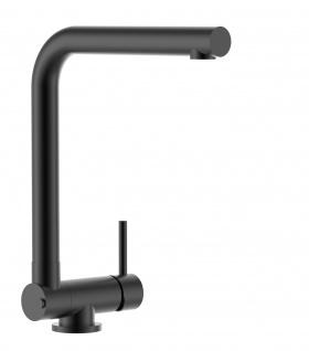 Chrom schwarz matt Küchenmischer mit abschwenbarem auslauf - Gesamthoehe abgeschwenkt 4, 5cm - Auslauf drehbar 360°