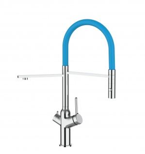 3 wege Küchenmischer fuer alle gaengigen filtersysteme geeignet mit hellblau abnehmbarer 2 strahliger Handbrause