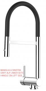 Unterfenster Armatur Wasserhahn abschwenbar auf nur 58mm 2strahl Handbrause - Griff auf linker Seite - schwarz