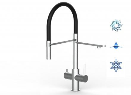 schwarz 5 wege Edelstahl gebürstet Küchenmischer Wasserhahn Armatur - abnehmbarer 2strahl Brause