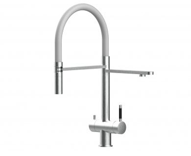 grau 3 wege Edelstahl gebürstet Küchenmischer Wasserhahn für Filtersysteme m. 2strahl Handbrause