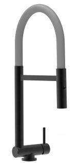 Chrom schwarz matt Küchenmischer mit grau schwenkbarem Auslauf und abnehmbarer 2 strahl Handbrause - Gesamthoehe nur 4, 5 cm
