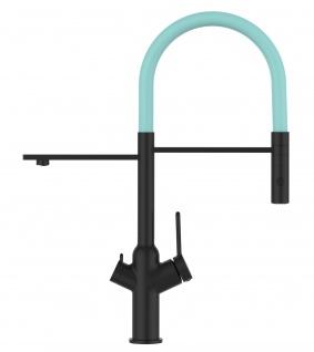 Matt-Schwarz 3 Wege Küchenmischer für Filtersysteme mit türkis schwenkbarem Auslauf und abnehmbarer 2strahliger Handbrause