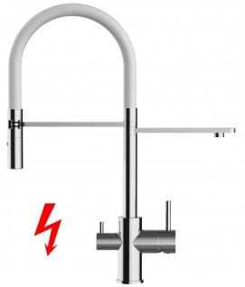 weiß NIEDERDRUCK 3 wege Küchenmischer Wasserhahn Armatur für Filtersysteme - 2 strahl Handbrause