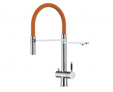orange 3 wege Edelstahl Hochglanz Küchenmischer Wasserhahn für Filtersysteme m. 2strahl Handbrause