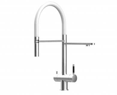 weiß 3 wege Edelstahl gebürstet Küchenmischer Wasserhahn für Filtersysteme m. 2strahl Handbrause