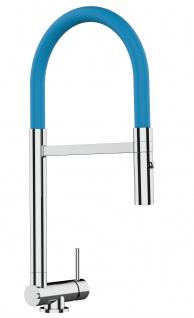 Chrom Küchenmischer mit hellblau schwenkbarem Auslauf und abnehmbarer 2 strahl Handbrause - Gesamthoehe nur 4, 5 cm