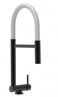 Chrom schwarz matt Küchenmischer mit weiß schwenkbarem Auslauf und abnehmbarer 2 strahl Handbrause - Gesamthoehe nur 4, 5 cm