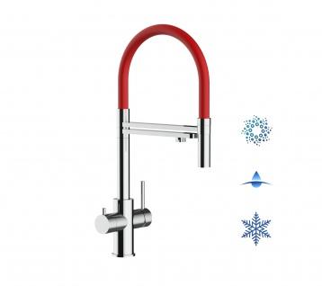rot 5 wege Edelstahl Küchenmischer Wasserhahn Armatur Hochglanz-Finish - abnehmbarer 2strahl Brause