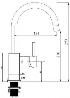 Küchenarmatur, Küchenmischer, Spültischarmatur, Spülenmischer, Wasserhahn Küche, Spültischmischer, RETRO Quardatisches Design, Top Qualität direkt vom Hersteller. - Vorschau 5