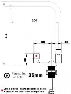 Unterfenster Vorfenster Armatur Wasserhahn Küche abschwenbar auf nur 58mm - Griff auf linker Seite - Vorschau 2