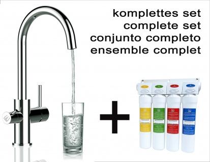 Vollständiges Wasserfilter system + VZFL011300 3-wege Küchenarmatur Chrom Wasserhahn