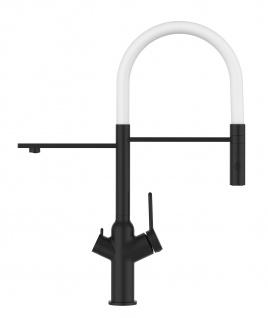 Matt-Schwarz 3 Wege Küchenmischer für Filtersysteme mit weiß schwenkbarem Auslauf und abnehmbarer 2strahliger Handbrause