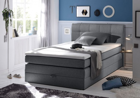 New Bed 140x200 cm Boxspringbett Bett inkl Bettkasten Anthrazit