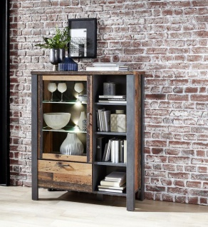 Cardiff Highboard Kommode inkl. Beleuchtung Used Style