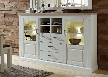 Lima Highboard montiert Pinie hell / Taupe