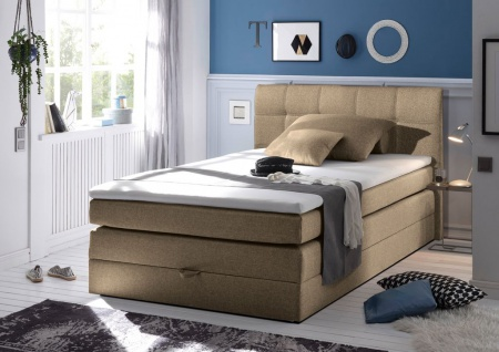 New Bed 140x200 cm Boxspringbett Bett inkl Bettkasten Sand