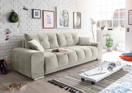 Paco Schlafsofa 260x90 cm Sofa Couch Schlafcouch Silber