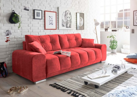 Paco Schlafsofa 260x90 cm Sofa Couch Schlafcouch Rot (Berry)