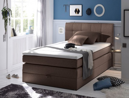 New Bed 140x200 cm Boxspringbett Bett inkl Bettkasten Braun