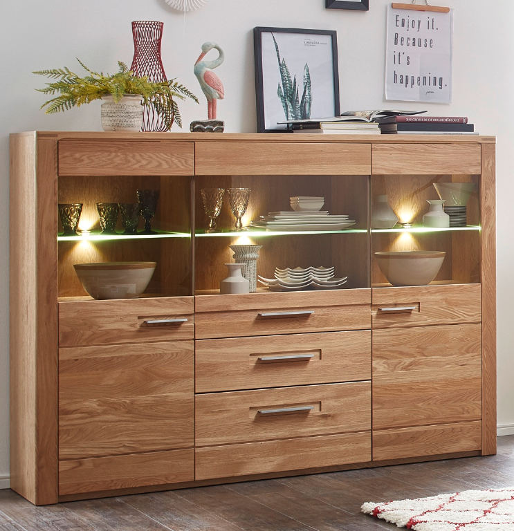 9ee69b085d99 WOODTREE TWO Highboard inkl. LED-Beleuchtung Wildeiche Bianco