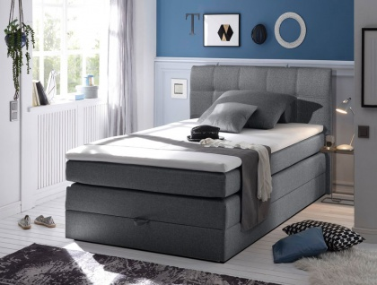 New Bed 120x200 cm Boxspringbett Bett inkl Bettkasten Anthrazit