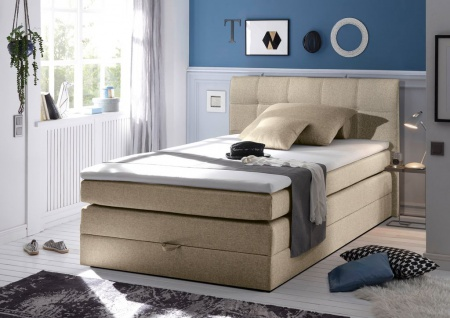 New Bed 140x200 cm Boxspringbett Bett inkl Bettkasten Beige