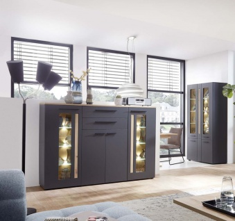 Loft-Two Highboard Sideboard Kommode Anrichte Kommode Anrichte inkl. LED-Beleuchtung Graphit/Artisan Eiche