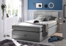 New Bed 140x200 cm Boxspringbett Bett inkl Bettkasten Grau
