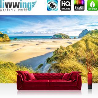 liwwing Vlies Fototapete 312x219cm PREMIUM PLUS Wand Foto Tapete Wand Bild Vliestapete - Meer Tapete Strand Dünen Wasser Himmel beige - no. 2695