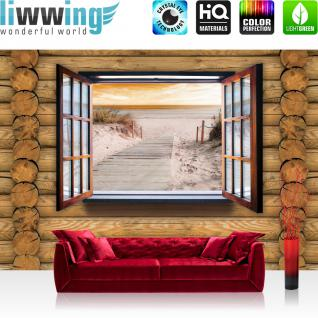 liwwing Fototapete 368x254 cm PREMIUM Wand Foto Tapete Wand Bild Papiertapete - Holz Tapete Holzwand Holzoptik Holz Fenster Strand Meer natural - no. 2344