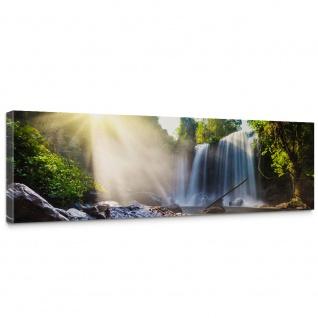 Leinwandbild Wasserfall Bäume Natur Sonne Steine | no. 259