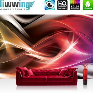 liwwing Vlies Fototapete 312x219cm PREMIUM PLUS Wand Foto Tapete Wand Bild Vliestapete - Kunst Tapete Abstrakt Rauch Linien Design Muster rot - no. 2068