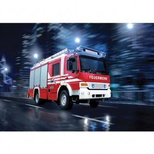 Fototapete Skylines Tapete Feuerwehr Auto Nacht Lichter rot | no. 535 - Vorschau 1