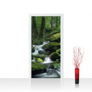 Türtapete - Wasserfall Wald Bäume Felsen | no. 446