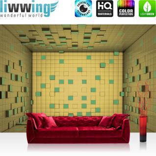 liwwing Fototapete 368x254 cm PREMIUM Wand Foto Tapete Wand Bild Papiertapete - 3D Tapete Raum Rechtecke beige - no. 1863