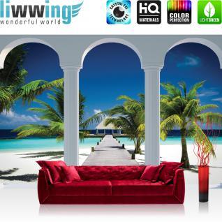 liwwing Vlies Fototapete 312x219cm PREMIUM PLUS Wand Foto Tapete Wand Bild Vliestapete - Meer Tapete Bogen Palme Strand Meer Weg blau - no. 1240