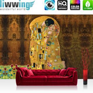 liwwing Vlies Fototapete 208x146cm PREMIUM PLUS Wand Foto Tapete Wand Bild Vliestapete - Kunst Tapete Malerei Gemälde Antik Muster Blumen Abstrakt Frau Mann gold - no. 1325