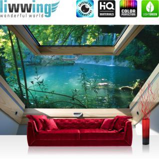 liwwing Fototapete 368x254cm PREMIUM Wand Foto Tapete Wand Bild Papiertapete - Wasser Tapete Wasserfall See Fluss Wald Fenster natural - no. 3319