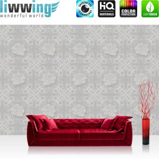 liwwing Vlies Fototapete 312x219cm PREMIUM PLUS Wand Foto Tapete Wand Bild Vliestapete - Kunst Tapete Blumen Rose Blüte Schnörkel Muster grau - no. 2329