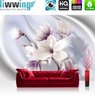 liwwing Vlies Fototapete 104x50.5cm PREMIUM PLUS Wand Foto Tapete Wand Bild Vliestapete - Blumen Tapete Magnolia Pflanzen Natur weiß - no. 2396
