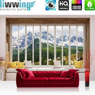 liwwing Vlies Fototapete 312x219cm PREMIUM PLUS Wand Foto Tapete Wand Bild Vliestapete - Berge Tapete Alpen Karpaten Riesengebirge Schnee Fenster natural - no. 3430