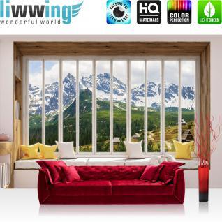 liwwing Vlies Fototapete 368x254cm PREMIUM PLUS Wand Foto Tapete Wand Bild Vliestapete - Berge Tapete Alpen Karpaten Riesengebirge Schnee Fenster natural - no. 3430