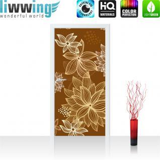 liwwing Türtapete selbstklebend 91x211 cm PREMIUM PLUS Tür Fototapete Türposter Türpanel Foto Tapete Bild - Abstrakt Blüten - no. 1108